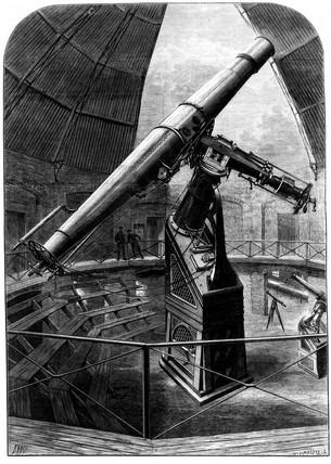 The great refracting telescope, Vienna, Austria, 1881.