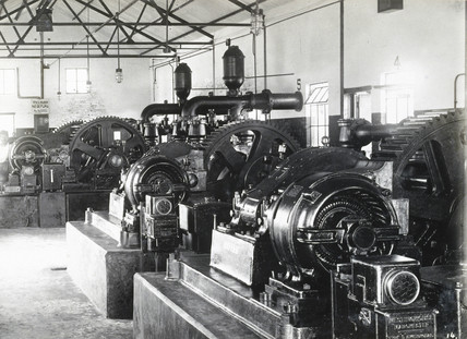 Interior of pump house at Tampico oil refinery, Mexico, c 1913.
