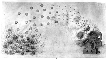 Mortars discharging explosive shells and shrapnel, late 15th century.