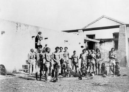Indigo beaters, Allahabad, India, 1877.