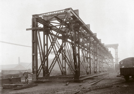 Constructing the Guali River Bridge, Colombia, South America, 1906.