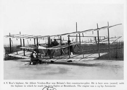 A V Roe's biplane, 1908.