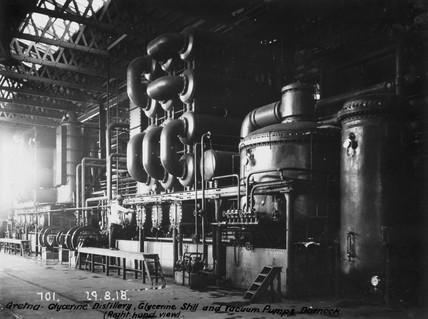 Glycerine still and vacuum pumps at Dornock, near Gretna, Scotland, 1918.