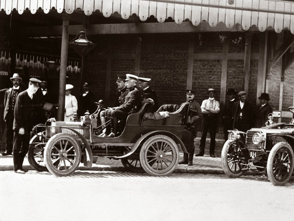 Duke of Connaught at the wheel of an early Rolls-Royce car, 1904.