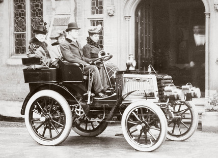 Princes Of Wales, C S Rolls and others sitting in a 12 hp Panhard, c 1903