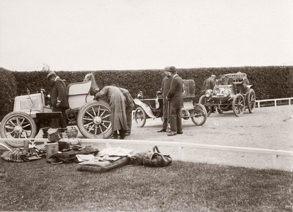 'Stripping for Speed Trials at Welbeck', Nottinghamshire, 1900.