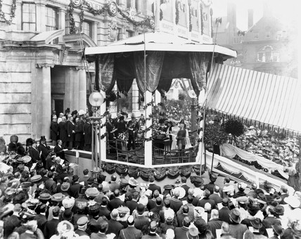 King Edward VII opening a 'Hearts of Oak Benefit Society' building, 1906.