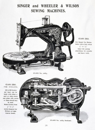 Singer and Wheeler & Wilson sewing machines, c 1905.