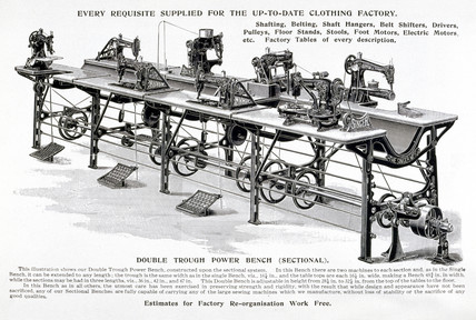 Industrial sewing bench, c 1905.