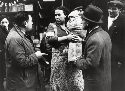 Scene on a picket line, Spitalfields rent strike, London, 16 January 1939.
