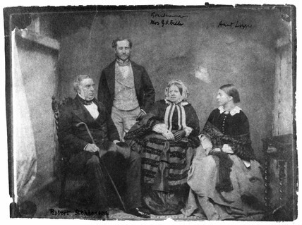 Robert Stephenson, English engineer, and family, c 1850-1859.