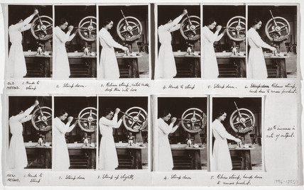 Woman operating a hand pres, 1920-1930.
