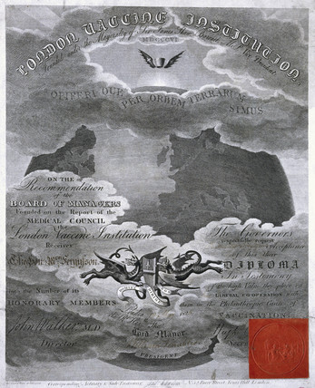 London Vaccine Institution certificate, 1826.