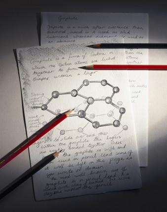 Sketch of carbon atoms, 1990s.