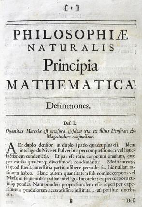 Inside title page to Newton's 'Principia Mathematica', 1687.
