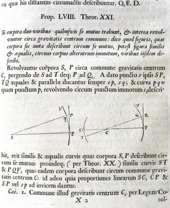 Gravitational attraction, 1687.