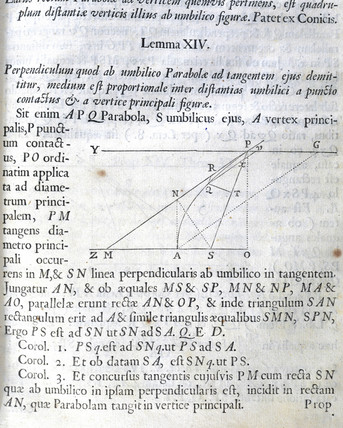 'A perpendicular dropped from the focus of a parabola...', 1687.