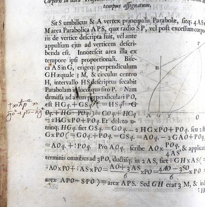 Handwriting on page of Newton's 'Principia Mathematica', 1687.
