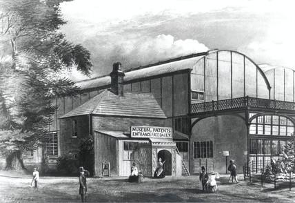 Entrance to the Patent Museum, South Kensington, London, 1863.