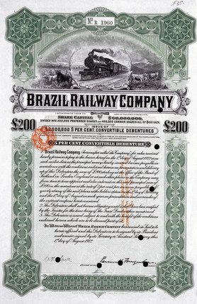 Brazil Railway Company share certificate, 1 August 1912.
