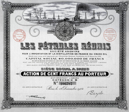 Share certificate, Brazil, 28 March 1925.