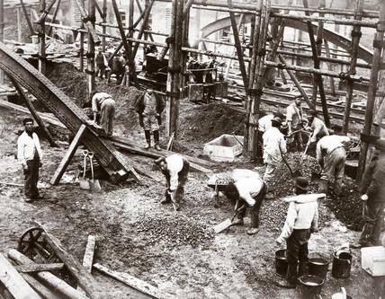 Constructing the Metropolitan Line, London, c 1860s.