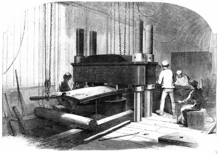 'Bending armour-plate by hydraulic presure at Chatham Dockyard', c 1863.