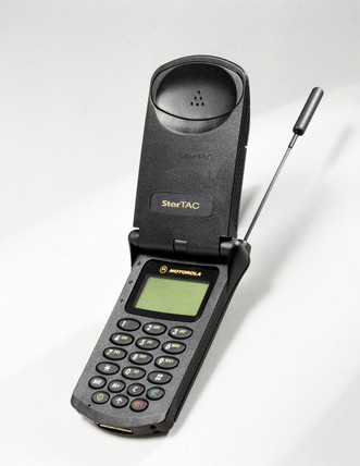 The Motorola StarTAC mobile phone launched in 1996 was the first ever 'clamshell' design phone, and was one of the first mobile phones to succeed commercially – selling around 60 million. (Source: Science Museum / SSPL)