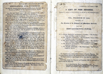 Stipulations and conditions of Rainhill Trials, 1829.