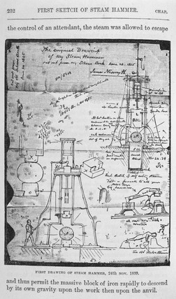 First drawing of a steam hammer by Janes Nasmyth, 24 November 1839.
