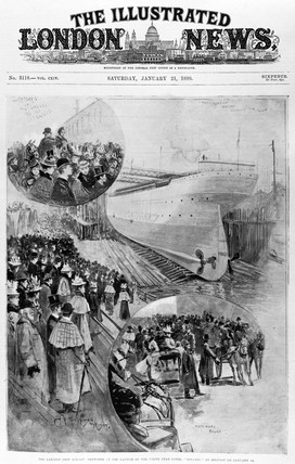 Launching of the s 'Oceanic', Belfast, January 1899.