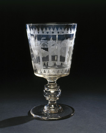 Goblet commemorating the opening of the Newcastle High Level Bridge, 1850.