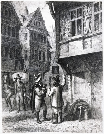 Street scene during the Plague of London, 1665.