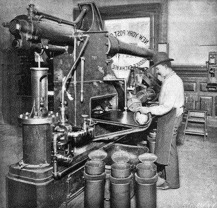 Pneumatic mail tube receiver at New York City Post Office, 1897.