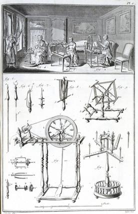 Women using spinning wheels, 1751-1765.