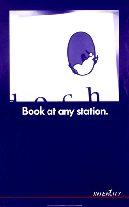 'Book at any station', BR poster, 1990.