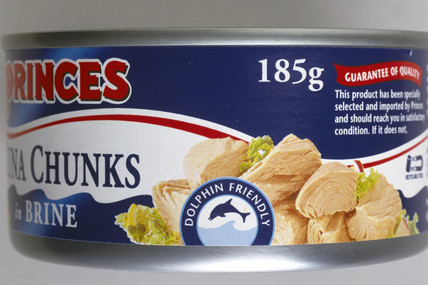 Can of tuna chunks with 'Dolphin Friendly' label, 1999.