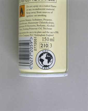 'CFC Free' label on canister of deodorant, 1999.