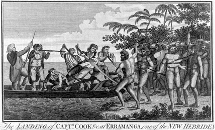 Captain James Cook landing at Erramanga, New Hebrides, 1774.