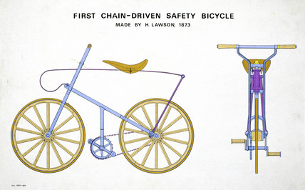 'First chain-driven safety bicycle, made by H Lawson, 1873'.