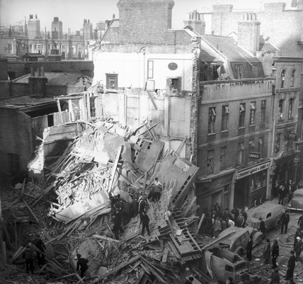 Bomb damage in Central London, 1940.