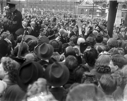 Winston Churchill in a crowd as he makes hi