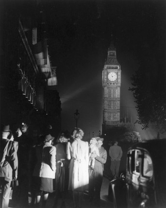Big Ben illuminated on the night of VE Day,