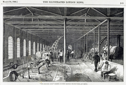 The erecting shop at the Grand Junction Railway engine-works, Crewe, 1849