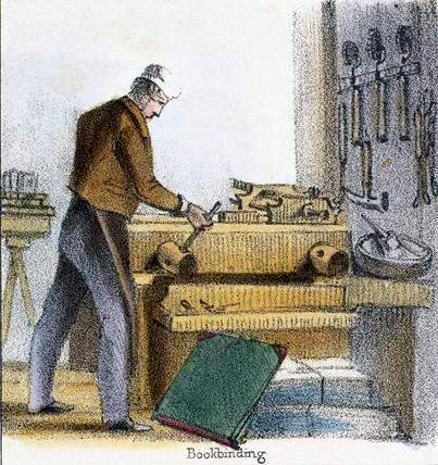 'Bookbinding', c 1845.
