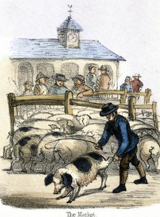 'The Market', c 1845.