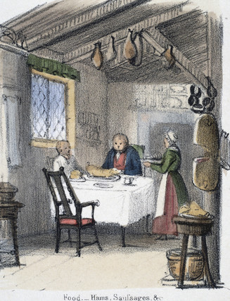 'Food, hams, sausages', c 1845.