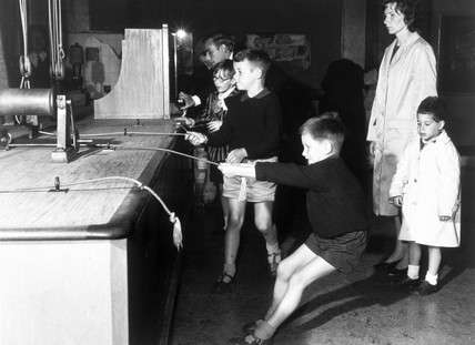 Children working interactives, Children's Gallery, Science Museum, 1963.