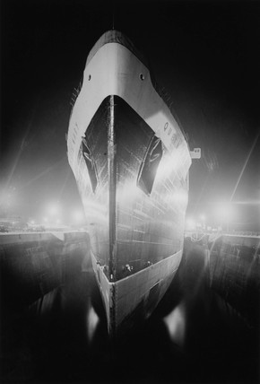 A negative print of the Queen Mary in dry dock at Southampton, 29 March 1936.