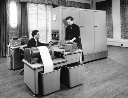 Ferranti Pegasus II computer in use, c 1958.